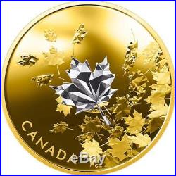 CANADA -2017'Whispering Maple Leaves' Reverse-Gold-Plated Proof $50 Silver Coin
