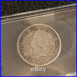 Canada 1858 10 cents VF-20 ICCS Certified Grade Nice Silver Coin RARE First Year