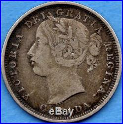 Canada 1858 20 Cents Twenty Cent Silver Coin One Year Type Fine