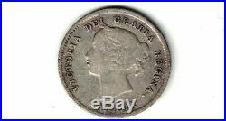 Canada 1875h Small Date Five Cents Small Nickel Victoria Sterling Silver Coin