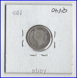 Canada 1885 10 Cents Dime Queen Victoria Sterling Silver Canadian Coin Obv 4 Vg
