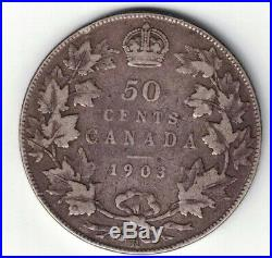 Canada 1903h 50 Cents Half Dollar King Edward VII Canadian Sterling Silver Coin