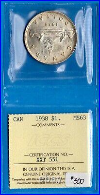 Canada 1938 $1 One Dollar Silver Coin ICCS MS-63