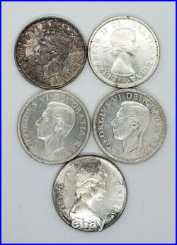 Canada 1939 1949 1950 1958 1967 Silver $1.00 One Dollar Coins Lot Of 5