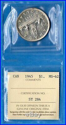 Canada 1945 $1 One Dollar Silver Coin Key Date Trend $600 ICCS MS-62