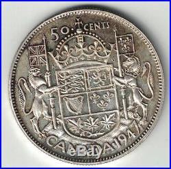 Canada 1947 ML 50 Cents Half Dollar King George VI Canadian. 800 Silver Coin
