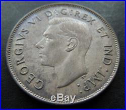 Canada 1947 Straight 7 Maple Leaf Fifty 50 Cents Half Dollar George Silver Coin