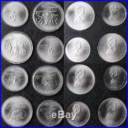 Canada 1976 Montreal Olympic BU Silver 28 Coins Complete SET with Wood Box & COA