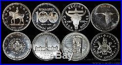 Canada $1 Dollar silver 8 Coin Set 1939 1958 1964 1967 1971 1973 1974 1982