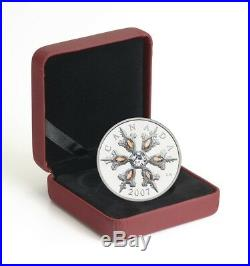 Canada 2007 $20 Iridescent Crystal Snowflake Sterling Silver Coin with COA & Box