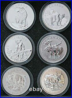 Canada 2011-2013 $5 Wildlife Series Set of six 1 oz silver coins