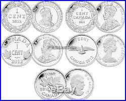 Canada 2012 Farewell to Penny One 1 Cent Pure. 9999 Silver 5 Coin Proof Set