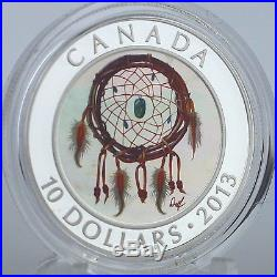 Canada 2013 $10 Dreamcatcher 99.99% Pure Silver Hologram Color Proof Coin