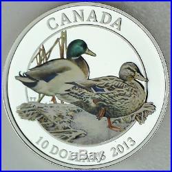 Canada 2013 $10 Mallard Lifelong Mates, 99.99% Pure Silver Color Proof Coin