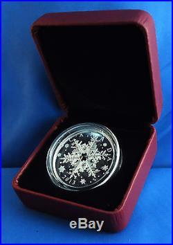 Canada 2013 Winter Snowflake 1 oz. Pure Silver $20 Proof Coin, Swarovski Crystal
