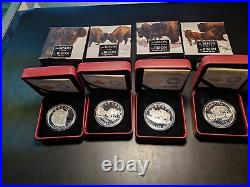 Canada 2014 $20 Proof 1 oz. 9999 Silver Bison Series of Coins (Lot of 4)