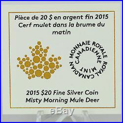 Canada 2015 $20 Misty Morning Mule Deer 1 oz 99.99% Pure Silver Color Proof Coin