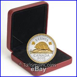 Canada 2015 Big Coins Series #4 Beaver 5 Cents 5 Oz Silver Gold Plated Nickel