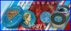 Canada 2016 5$ Superman Space Blue with Crystals 1 Oz 999 Silver Coin