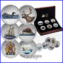 Canada 2016 Big Coins Series 5 Oz Color Silver Proof 6 Coin Set in Wood Case Box