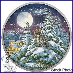 Canada 2017 $30 Animals Moonlight Great Horned Owl 2 oz Silver Glow in Dark Coin