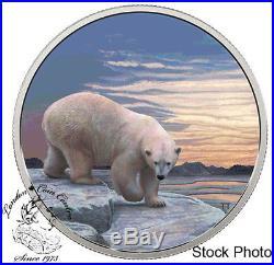 Canada 2018 $30 Arctic Animals and Northern Lights Polar Bear Fine Silver Coin