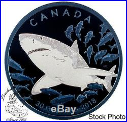 Canada 2018 $30 Great White Shark 2 oz. Pure Silver Coin Blue Rhodium Plating