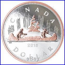 Canada 2018 Big Coins #1 Voyageur Canoe $1 5 Oz Silver Dollar Rose Gold Plating