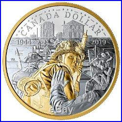 Canada 2019 $1 D-day 75th Anniversary 99.9% Proof Silver Gold Plated Dollar Coin