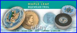 Canada 2019 5$ Maple Leaf Bejeweled FROG 1 oz Silver Coin 500 pcs only
