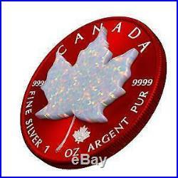 Canada 2019 5$ Maple Leaf Space RED 1 Oz Silbermünze mit echtem OPAL Stein