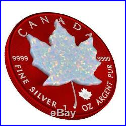 Canada 2019 5$ Maple Leaf Space RED 1 Oz Silver Coin with Real OPAL Stone
