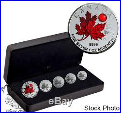 Canada 2020 5 Coin Maple Leaf O Canada Pure Silver Fractional Set
