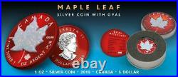 Canada 2020 5$ Maple Leaf Space RED 1oz Silver Coin with Real OPAL Stone