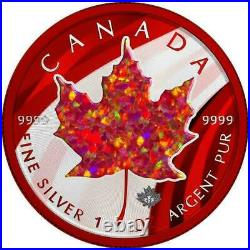 Canada 2020 5$ Maple Leaf Space Red with Red Opal Stone 1 Oz Silver Coin
