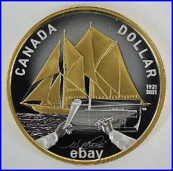 Canada 2021 $1 Bluenose 100th Anniversary 99.9% Silver Gold Plated Dollar Coin