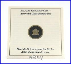 Canada $20 Fine Silver Coin Aster with Venetian Glass Bumble Bee (2012)
