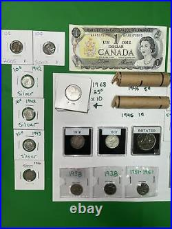 Canada Bill And Coin Lot Of Silver! Victorian