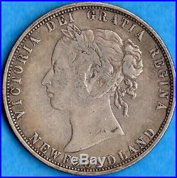 Canada Newfoundland 1873 50 Cents Fifty Cents Silver Coin Trends $140 Fine