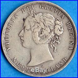 Canada Newfoundland 1876 H 50 Cents Fifty Cents Silver Coin F/VF