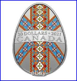 Canada PYSANKA Silver Coloured Coin 20 Dollars Ukrainian Tradition UNC 2021