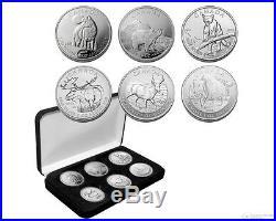 Canada Silver 1 oz x 6 Coins Canadian Wildlife Series Set $5 BU 9999