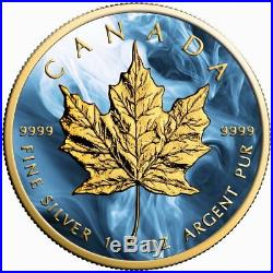 Canada Silver Maple Leaf Coin Magic Blue Colorized and Gold Gilded Golden Noir