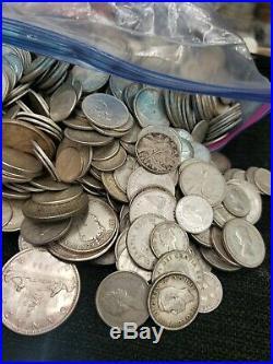 Canada Silver Quarters, Dimes 25 toz coin lot. 800 silver FREE SHIPPING