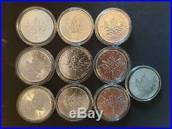 Canadian Silver Maple 1 oz Coin x10.9999 Silver 1995 2011 2012 2014 2018