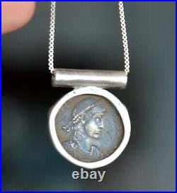 Coin necklace, Authentic Roman Coin necklace, Antique, sterling silver (V671)