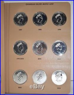 DANSCO 7215 COIN ALBUM With 1 OZ. 999 CANADA SILVER MAPLE LEAFS 1988-2012 36 COINS