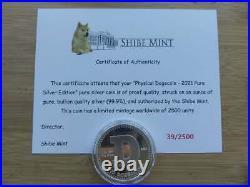 Dogecoin Doge. 999 Silver Coin Round 1 oz Shibe Mint Bitcoin 2021 COA #39/2500