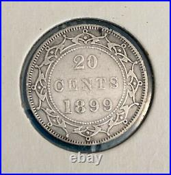 Foreign Silver Coins -1900 -50 Cents & 1894,1899-20 Cents -Newfoundland-VG-VF+