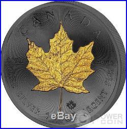 GOLDEN ENIGMA Maple Leaf Black Ruthenium 1 Oz Silver Coin 5$ Dollar Canada 2015